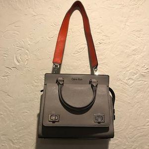 Calvin Klein Grey Saffiano Turnlock Satchel